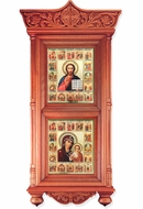 Wooden Shrine with Vita Icons Virgin of Kazan and Christ The Teacher
