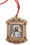 Wooden  Silver Tone Metal Pendant on Rope with Icon of Christ