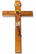 Wooden Wall Cross with Serigraph Corpus Crucifix, Large