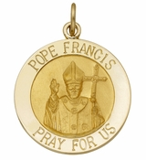 "Gold  Medal  ""Pope Francis Pray For Us"", 14KT"