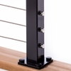 Installed plate for deck mounting aluminum cable railing post