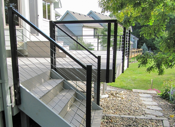 Black aluminum cable railing lakeville mn