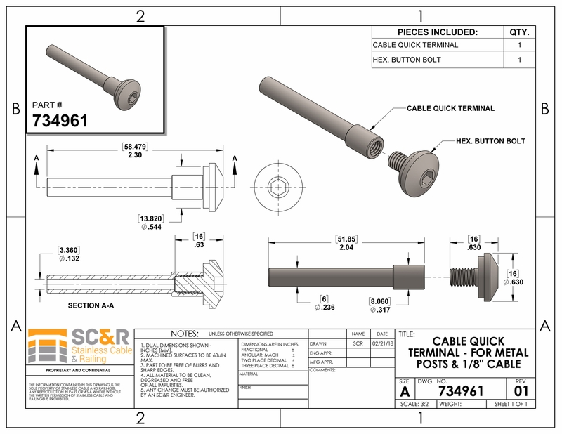 cable quick lock terminal for metal posts