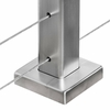 Plate covering flange on stainless square cable railing post
