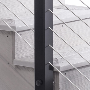 Aluminum cable railing fascia mount intermediate post