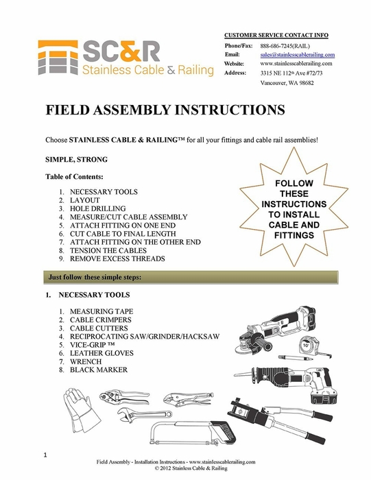 Instructions for Field Swaged Assembly