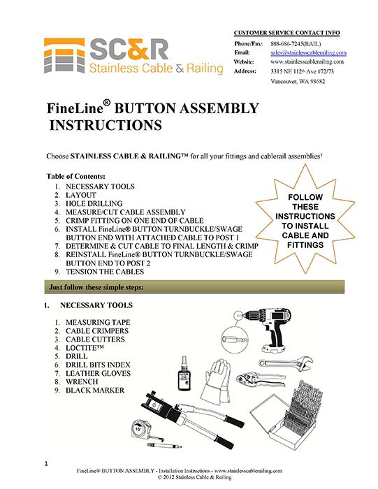 FineLine™  Button Turnbuckle and Swage Button End - Assembly Instructions