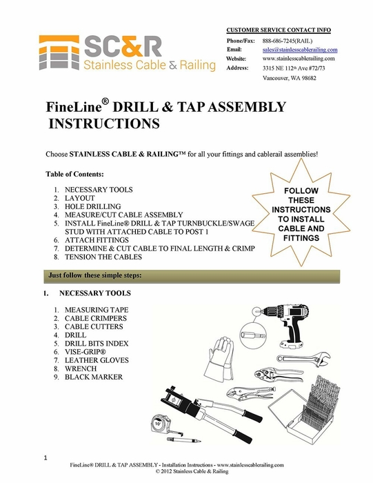 FineLine™ Drill and Tap Turnbuckle and Swage Stud - Assembly Instructions