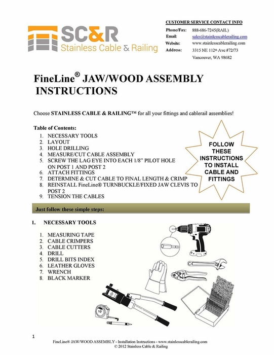 FineLine™ Jaw Turnbuckle and Lag Eye Fitting for Wood - Assembly Instructions