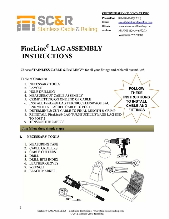 FineLine™  Lag Turnbuckle and Swage Lag End - Assembly Instructions