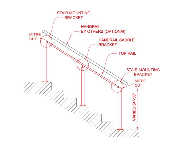 ... Post To Post Angled Stair Handrail Cable Railing ...