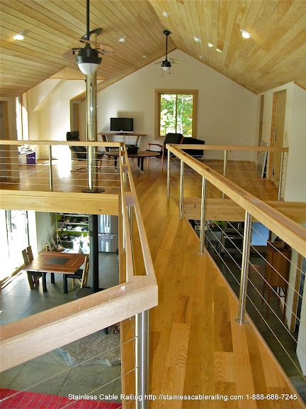 Interior Stainless Steel Posts with Wood Top Rail Cable Railing System