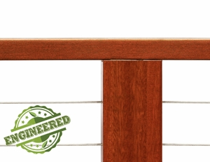 Balau Mahogany wood cable railing post with cable infill