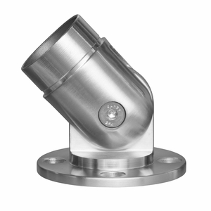Stainless round cable railing articulating post and rail flange
