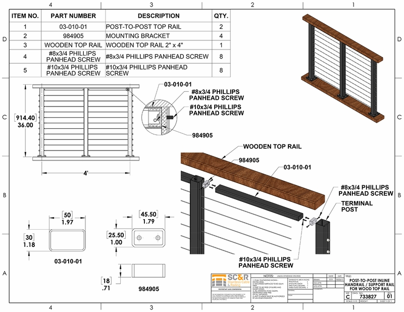 Post To Post Handrail For Railing Systems