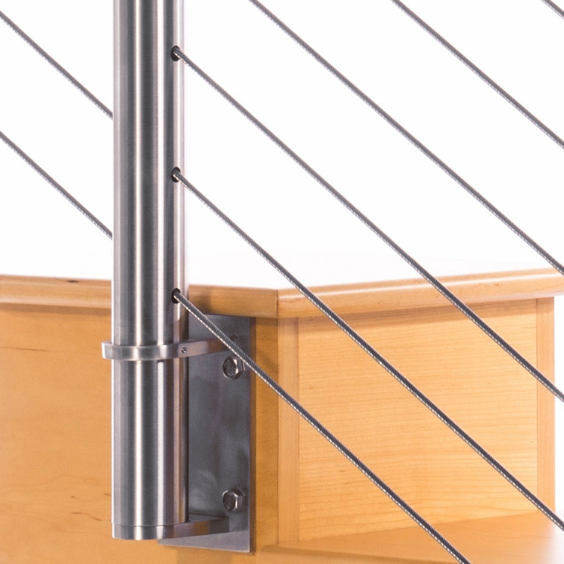 Round Stainless Steel Cable Railing Post With Infill Click To Enlarge