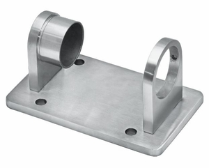 Rectangular fascia bracket for round cable railing posts