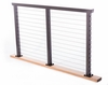 Bronze rectangular aluminum cap rail for cable railing system