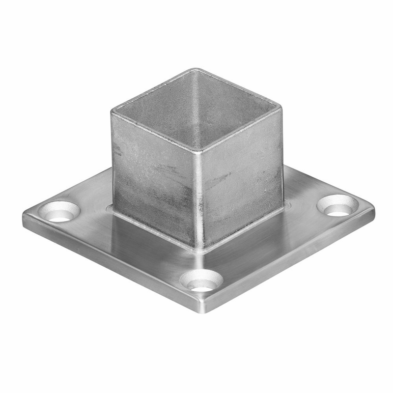 Square long neck floor flange for stainless steel deck for 1 inch square floor flange