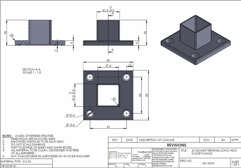 Square long neck floor flange for stainless steel deck