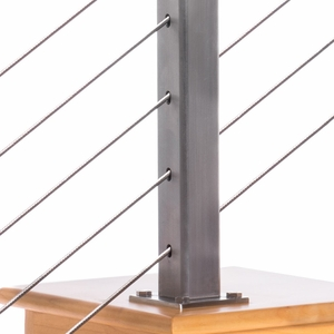 Square stainless steel cable railing post with cable infill