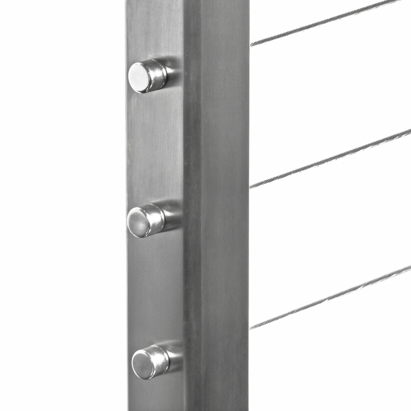 """Square Stainless Steel Fascia Mount 36"""" Drilled Terminal Post"""