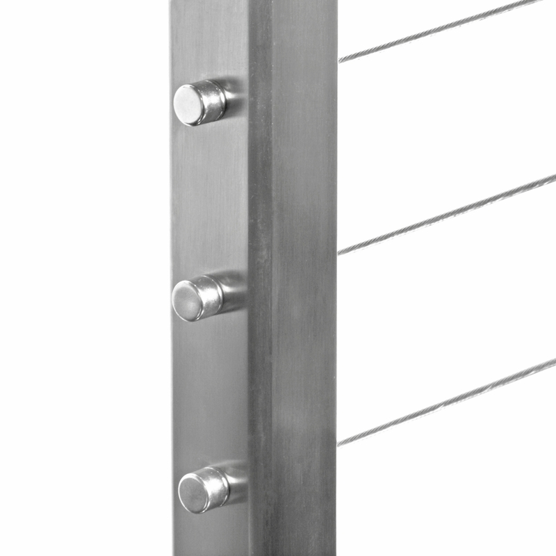 """Square Metal Post square stainless steel fascia mount 36"""" drilled terminal post"""