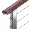 Low post cap installed in stair stainless square cable railing