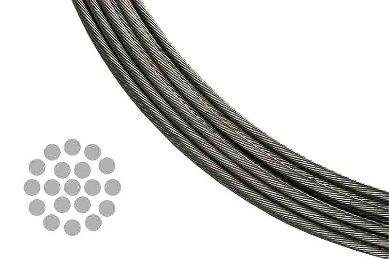 Stainless Steel Cable for Cable Railing Systems - 1 x 19