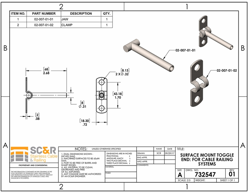Cable Railing Systems Surface Mount Toggle End