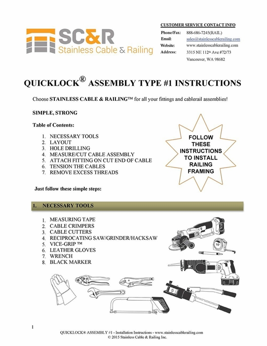 Swageless Type 1 - Assembly Instructions