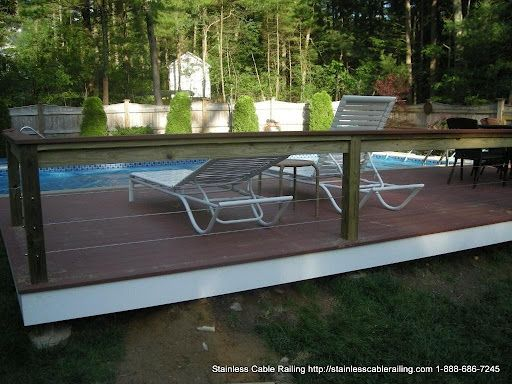 Wood Handrail Top Post with a Cable Railing System D Foley Walpole MA