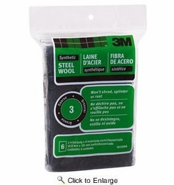 3M 10115 #3 Synthetic Steel Wool Pads - Coarse - 6 Pads per Package