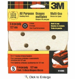 """3M 9145NA  5"""" Hook & Loop 8-Hole All Purpose Sanding Disc Extra-Fine 220 Grit - 5 per Package"""