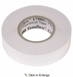 "3M Temflex 1700C White 3/4"" x 66' General Use Vinyl Electrical Tape"