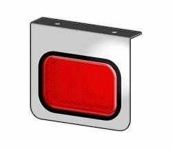 American Chrome 21413  Stainless Steel Light Bracket with Rectanular Red Lignt