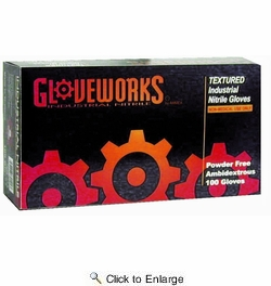 Ammex INPF44100  GloveWorks Powder Free Nitrile Gloves - Medium - Box of 100 Gloves