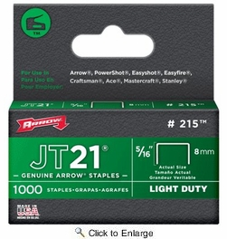 "Arrow Fastener 215  JT21 5/16"" Flat Crown Light Duty Staples 1000 per Package"