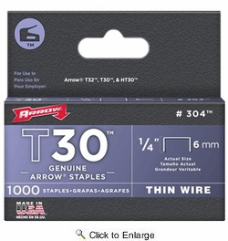 "Arrow Fastener 304  T30 1/4"" Flat Crown Thin Wire Staples 1000 per Package"