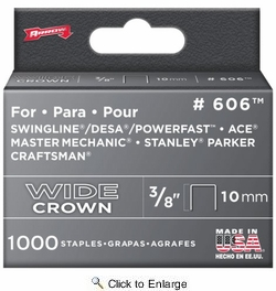 "Arrow Fastener 606  3/8"" Heavy Duty Wide Crown Staples 1000 per Package"