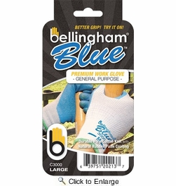 Bellingham C3000  Blue Rubber Palm Glove With Poly/Cotton Knit - Large
