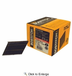 """Bostitch S10D131-FH  3"""" x 0.131 Smooth Shank 28° Wire Collated Full Round Head Stick Framing Nails - 2000 per Package"""