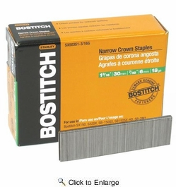 """Bostitch SX50351-3/16G  1-3/16"""" 18-Gauge 7/32"""" Narrow Crown Finish Staples - 3000 per Package"""