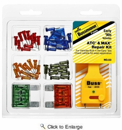 Bussmann 53  ATC and MAX Blade Fuse Repair Kit with 40 ATC Fuses, 4 MAX Fuses and Tester Puller