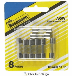 "Bussmann BP/AGW-A8-RP  AGW 1/4"" x 7/8"" Fast-Acting Glass Tube Fuse 8 Fuse Assortment"