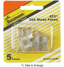 Bussmann BP/ATC-25-RP  Clear ATC 25 Amp Fast-Acting Automotive Blade Fuses - 5 per Card
