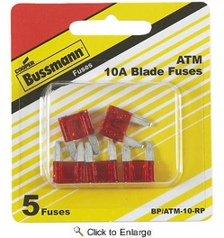 Bussmann BP/ATM-10-RP  Red ATM 10 Amp Fast-Acting Automotive Mini Blade Fuses - 5 per Card