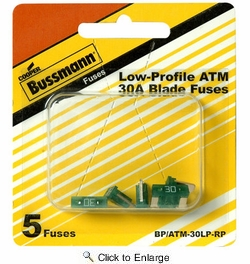 Bussmann BP/ATM-30LP-RP  Green ATM Low-Profile 30 Amp Fast-Acting Automotive Mini Blade Fuses - 5 per Card