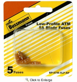 Bussmann BP/ATM-5LP-RP  Tan ATM Low-Profile 5 Amp Fast-Acting Automotive Mini Blade Fuses - 5 per Card