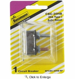 Bussmann BP/CBC-20HB-RP  Type I Stud-Mount 20 Amp Automatic Circuit Breaker with Lengthwise Bracket